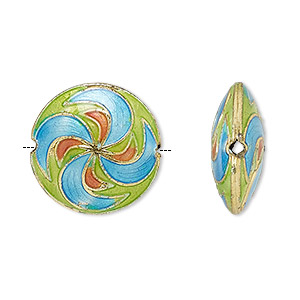 Bead, cloisonné, enamel and gold-finished copper, blue / green / pink, 19-20mm puffed flat round with swirl design. Sold per pkg of 2.