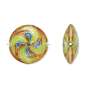 Bead, cloisonné, enamel and gold-finished copper, green / blue / orange, 19-20mm puffed flat round with swirl design. Sold per pkg of 2.