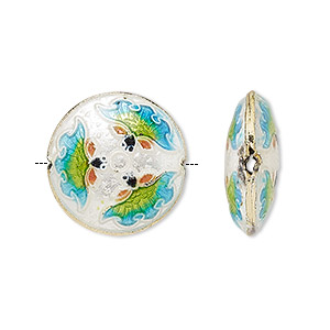 Bead, cloisonné, enamel and gold-finished copper, multicolored, 19mm puffed flat round with flower design. Sold per pkg of 2.