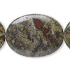 Bead, dragon blood jasper (natural), 40x30mm flat oval, B grade, Mohs hardness 6-1/2 to 7. Sold per 16-inch strand.