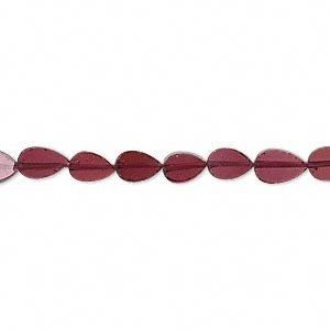 Bead, garnet (dyed), 5x3mm-7x4mm hand-cut flat teardrop, B- grade, Mohs hardness 7 to 7-1/2. Sold per 16-inch strand.