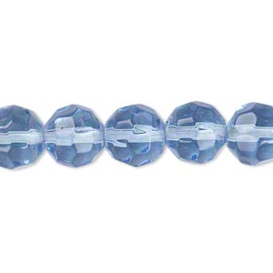 Bead, glass, light blue, 9-10mm faceted round. Sold per 12-inch strand. Minimum 2 per order.