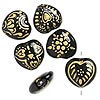 Bead, glass, opaque black and gold color, 22x21mm-23x22mm puffed heart with assorted designs. Sold per pkg of 6.