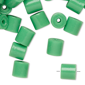 Bead, glass, opaque green, 8x7mm-8mm round tube with 1.8-2.3mm hole. Sold per pkg of 100.