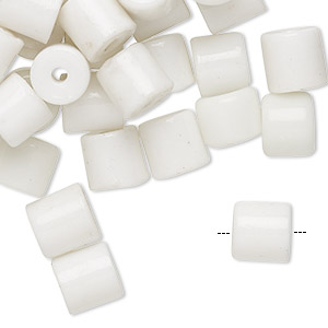 Bead, glass, opaque white, 8x7mm-10x8mm round tube with 1-4mm hole. Sold per pkg of 100.
