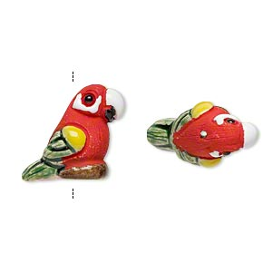 Bead, glazed ceramic, multicolored, 19x15mm hand-painted parrot. Sold per pkg of 2.