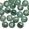 Bead, glazed porcelain, green, 15mm round with 2.75mm hole. Sold per pkg of 20.