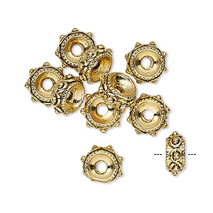 Bead, gold-plated pewter (tin-based alloy), 9x4mm rondelle with 2mm hole. Sold per pkg of 10.