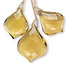 Bead, golden quartz (heated), (1) 28x22mm and (2) 24x18mm hand-cut top-drilled faceted fancy teardrop, B+ grade, Mohs hardness 7. Sold per pkg of 3 beads.