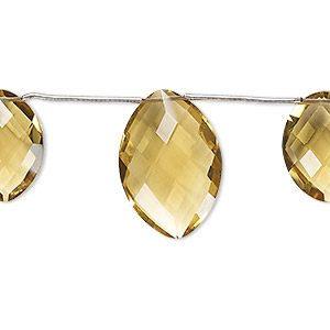 Bead, golden quartz (heated), 16x12mm and 21x15mm hand-cut top-drilled faceted puffed marquise, B grade, Mohs hardness 7. Sold per pkg of 3 beads.