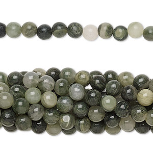 Bead, green line jasper (natural), 4mm round, C grade, Mohs hardness 6-1/2 to 7. Sold per pkg of (10) 16-inch strands.
