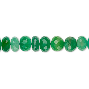 Bead, green onyx (dyed), 9x5mm-11x8mm hand-cut faceted rondelle, B grade, Mohs hardness 6-1/2 to 7. Sold per 8-inch strand.