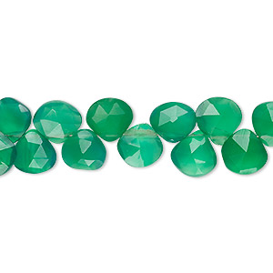 Bead, green onyx (dyed), light to medium, 7x7mm-8x8mm hand-cut top-drilled faceted puffed teardrop, B grade, Mohs hardness 6-1/2 to 7. Sold per 4-inch strand.