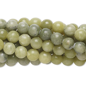Bead, green serpentine (natural), 6mm round, C grade, Mohs hardness 2-1/2 to 6. Sold per pkg of (10) 16-inch strands.