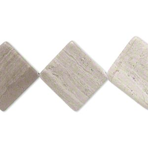 Bead, grey and cream marble (natural), matte, 18x18mm-22x22mm flat diamond, C- grade, Mohs hardness 3. Sold per 15-inch strand. Minimum 5 per order.