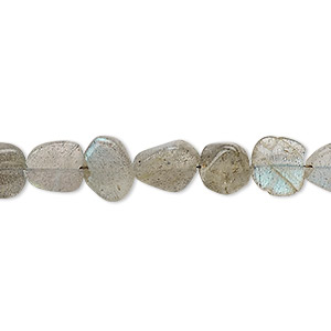 Bead, labradorite (natural), mini to small hand-cut flat nugget, Mohs hardness 6 to 6-1/2. Sold per 13-inch strand.