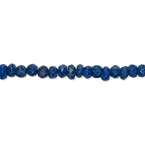 Bead, lapis lazuli (natural / dyed), 4x2mm-5x3mm hand-cut faceted rondelle with 0.4-1.4mm hole, D grade, Mohs hardness 5 to 6. Sold per 12-inch strand.