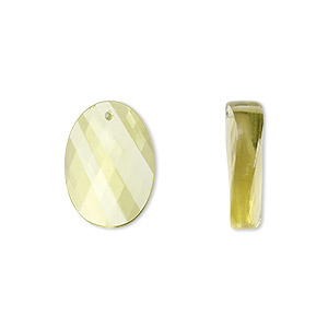 Bead, lemon quartz (heated), 16x12mm hand-cut faceted twisted oval, B grade, Mohs hardness 7. Sold per pkg of 2.