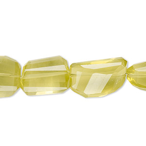Bead, lemon quartz (heated), small to large hand-cut faceted nugget, Mohs hardness 7. Sold per 7-inch strand.