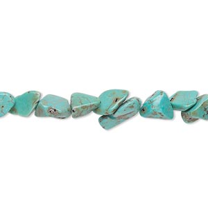 Bead, magnesite (dyed / stabilized), blue, small chip, Mohs hardness 3-1/2 to 4. Sold per 15-inch strand.