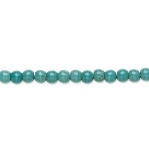Bead, magnesite (dyed / stabilized), dark blue-green, 3-4mm round, C grade, Mohs hardness 3-1/2 to 4. Sold per 16-inch strand.