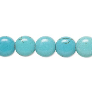 "Bead, magnesite (dyed / stabilized), teal, 9-10mm puffed flat round, C+ grade, Mohs hardness 3-1/2 to 4. Sold per 15"" to 16"" strand."