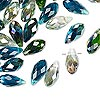 Bead mix, Celestial Crystal®, glass, ocean, 12x6mm faceted briolette. Sold per pkg of 40.