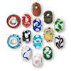 Bead mix, Dione™, lampworked glass with silver-finished brass grommets, opaque and semi-transparent mixed colors, 14x9mm rondelle with swirls, 4.5-5mm hole. Sold per pkg of 14.
