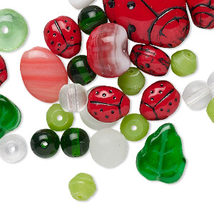 60 to 100 Beads 50 Grams Translucent Green Mixed Shapes Glass Beads