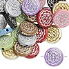 Bead mix, acrylic, mixed colors, 18mm double-sided flat round with flower design, 2mm hole. Sold per pkg of 50.