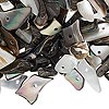 Bead mix, black lip shell (natural), small to gigantic chip, Mohs hardness 3-1/2. Sold per 1/2 pound pkg, approximately 750-900 beads.