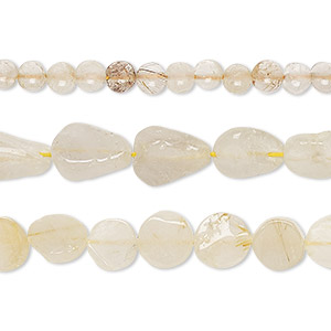 Bead mix, golden rutilated quartz (natural), 3mm-8x6mm hand-cut mixed shape, C grade, Mohs hardness 7. Sold per 13-inch strand.