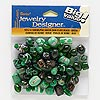 Bead mix, lampworked glass, dark green, 6x3mm-16x13mm mixed shape. Sold per 100-gram pkg, approximately 70 beads.