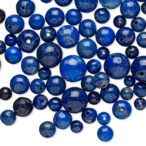 Bead mix, lapis lazuli (natural), 4-8mm round, Mohs hardness 5 to 6. Sold per 25-gram pkg, approximately 95 beads.