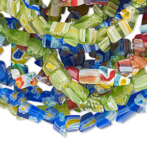 Bead mix, millefiori glass, multicolored, small chip. Sold per pkg of (3) 35-inch strands.