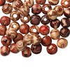 Bead mix, painted wood (coated), multicolored, 10mm hand-cut round with pattern. Sold per pkg of 100.