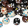 Bead mix, painted wood, mixed colors, 10-11mm irregular round with flower design. Sold per 90-gram pkg, approximately 300 beads.