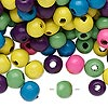 Bead mix, painted wood, mixed colors, 7-8mm irregular round. Sold per 400-gram pkg, approximately 3,000 beads.