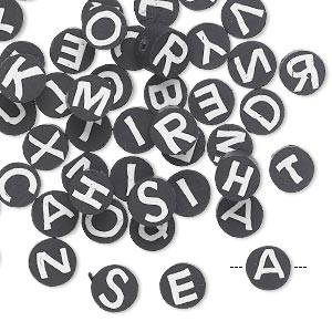 Bead mix, polymer clay, black and white, 6mm double-sided flat round with alphabet letters. Sold per pkg of 50.