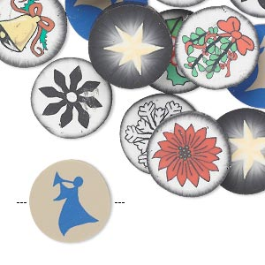 Bead mix, polymer clay, multicolored, 14mm flat round with double-sided holiday designs. Sold per pkg of 30.