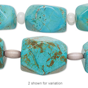 "Bead mix, ""turquoise"" (imitation) resin / snow quartz (natural) / cat's eye glass, blue and lavender, 6x4mm rondelle / 9x5mm barrel / large faceted nugget. Sold per pkg of 7."