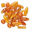 Bead mix, resin, amber yellow, 15mm-38x15mm mixed shape. Sold per pkg of 30.