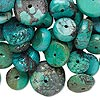 Bead mix, turquoise (dyed / stabilized / waxed), blue, 9x4mm-19x9mm rondelle, Mohs hardness 5 to 6. Sold per 1/4 pound pkg, approximately 75 beads.