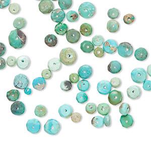 turquoise Rodé perle rondell 10 unités 16x12mm
