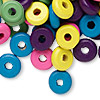 Bead mix, wood, mixed colors, 11x3mm rondelle. Sold per 400-gram pkg, approximately 2,800 beads.