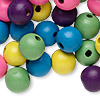 Bead mix, wood, mixed colors, 20mm round. Sold per 100-gram pkg, approximately 35 beads.