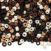 Bead mix, wood, mixed colors, 3x2mm heishi. Sold per 400-gram pkg, approximately 45,000 beads.