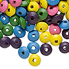 Bead mix, wood, mixed colors, 8x4mm rondelle. Sold per 400-gram pkg, approximately 6,000 beads.