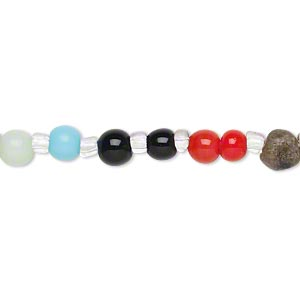 Bead, multi-gemstone (natural / dyed / heated / manmade) and cat's eye glass, multicolored, 4-7mm hand-cut round, C- grade. Sold per 14-inch strand.