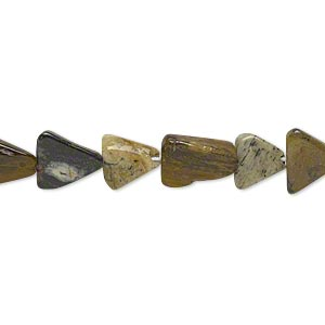 Bead, multi-jasper (natural), 7x7x6mm-12x12x8mm hand-cut flat triangle, C grade, Mohs hardness 6-1/2 to 7. Sold per 14-inch strand.